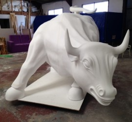 Hand carved Bull lifesize sculpture in the making