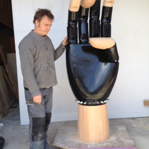 Giant hand with wooden elements