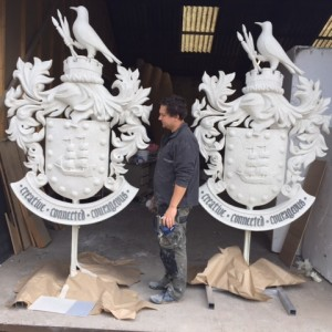 Stone effect crests we created for Falmouth university