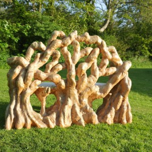 roots effect bench hand carved