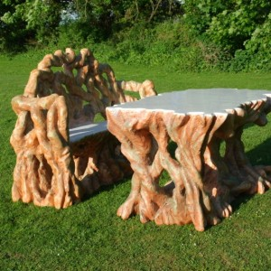 Bespoke garden furniture table and bench