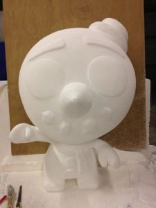 Polystyrene 3d model in the making