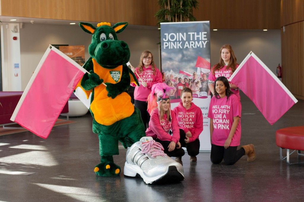 Our giant trainer at Race for life campaign