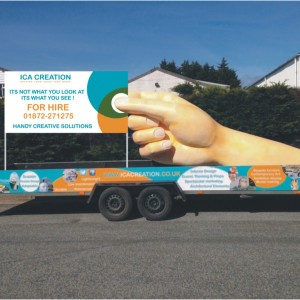 Outdoor advertising tool - giant hand sculpture