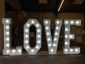 Free-standing  light up letters spelling love