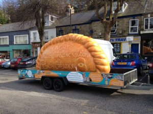 Giant cornish pasty in town prop with installation made out of polystyrene