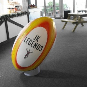 giant rugby ball with tee prop made out of polystyrene