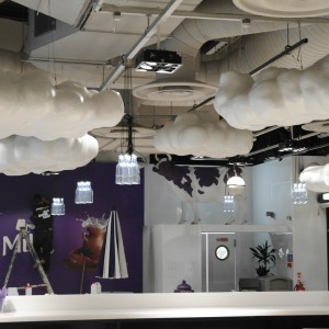 White fluffy clouds, custom interior elements