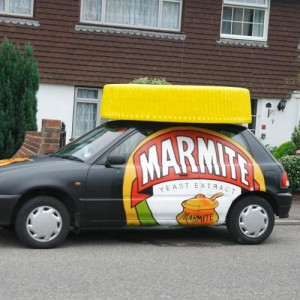 Giant Marmite lid carved out of polystyrene publicity stunt