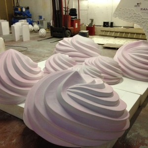Giant meringues for Candy cloud installation