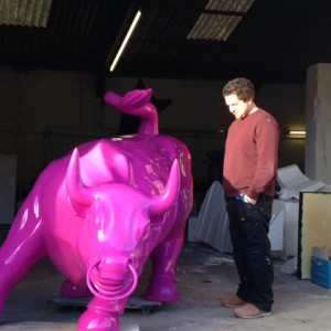 Life-size quirky pink bull project
