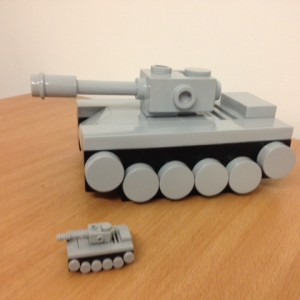 scaled up 3d lego models in the making