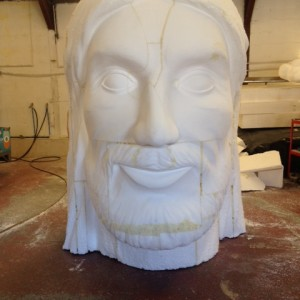 Giant bust sculpture first stage sculpting