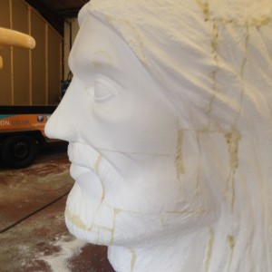 Giant bust sculpture, first stage sculpting