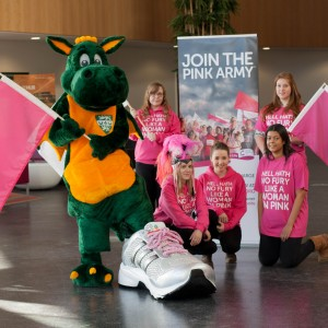 Our giant trainer prop at Race for life campaign