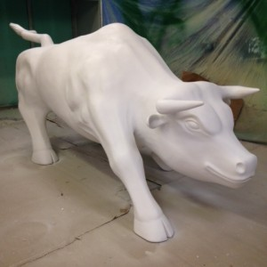 Hand carved life size Bull sculpture