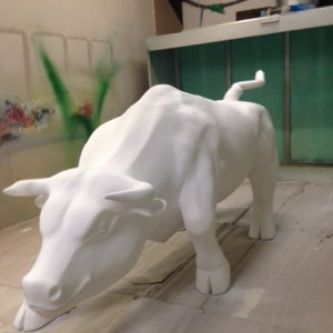Hand carved Bull - life size sculpture