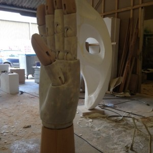 Bespoke window display elements : we created an oversized mannequin hand