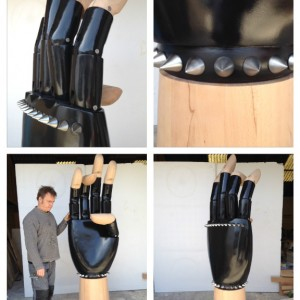 2.2m high mannequin hand we created for Karl Lagerfeld