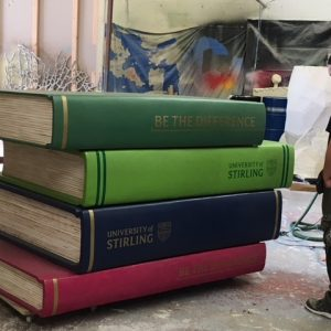 Giant stack of books prop