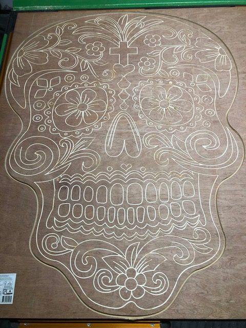 day of the dead CNC cut pattern panel