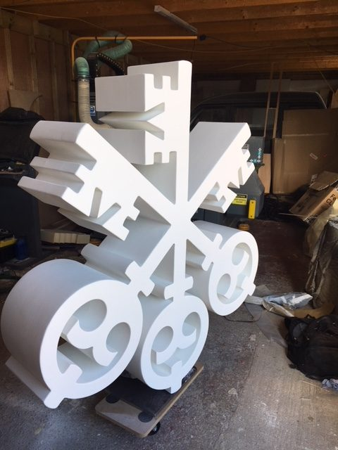 CNC cut large 3d logo prop
