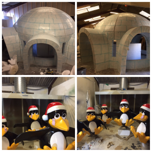 Themed igloo and penguins events stand