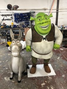 Life size models of Shrek and Donkey