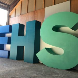 large 3d letters in blue