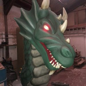 dragon egg dj booth and dragon with egg props