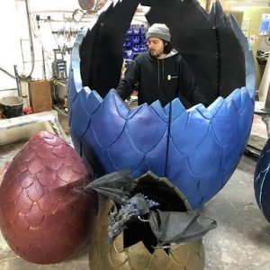 dragon egg dj booth and dragon with egg props