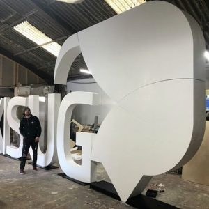 large letters with logo