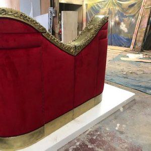 red velvet living couches