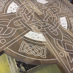 cnc routed pattern on table
